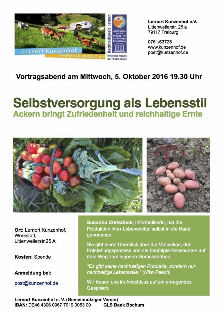Vortrag Selbstversorgung als Lebensstil (Kunzenhof) @ Lernort Kunzenhof